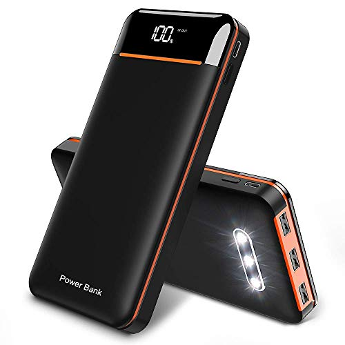 RLERON Batteria Esterna 25000mAh Powerbank, Alta capacità Power Bank con 3 Uscite USB e 2 Ingressi, Caricabatterie Portatile per Smartphone, Tablet