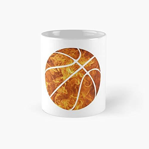Taza clásica con diseño de pelota de fuego de baloncesto con traza blanca, el mejor regalo divertido tazas de café de 325 ml