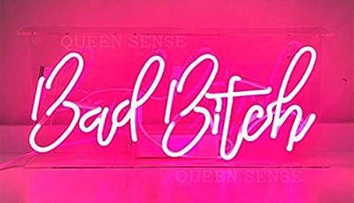 "Queen Sense 14"" Bad Bitch Neon Sign Light Decorated Acrylic Panel Handmade Beer Bar Pub Man Cave Lamp UT198"