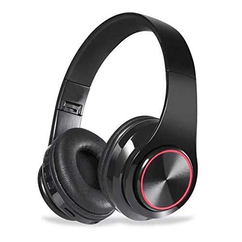 Juego de auriculares inalámbricos Bluetooth, auriculares estéreo V5.0 con micrófono, plegable, ligero, compatible con tarjeta Tf MP3 12 horas de reproducción (color negro)