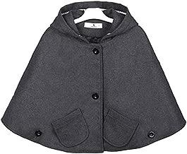 Kids Girls Wool Blend Hoodie Capes Poncho Children Spring Autumn Winter Car Seat Jacket Outwear (Dark Gray, 2T)