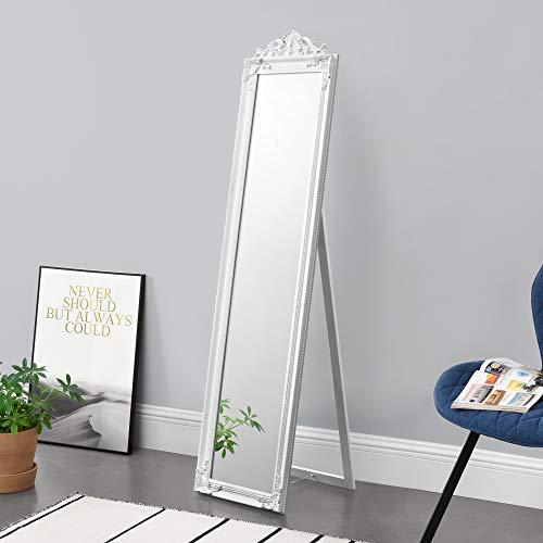 [en.casa] Miroir de Grande Taille sur Pied Psyché Inclinable Solide Cadre Style Baroque Bois d'Eucalyptus 160 x 40 cm Blanc Mat