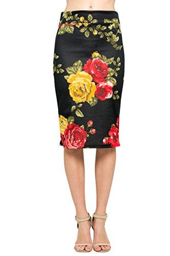 Junky Closet Women's Comfort Stretch Pencil Midi Skirt (L, T2936PCAM Black)