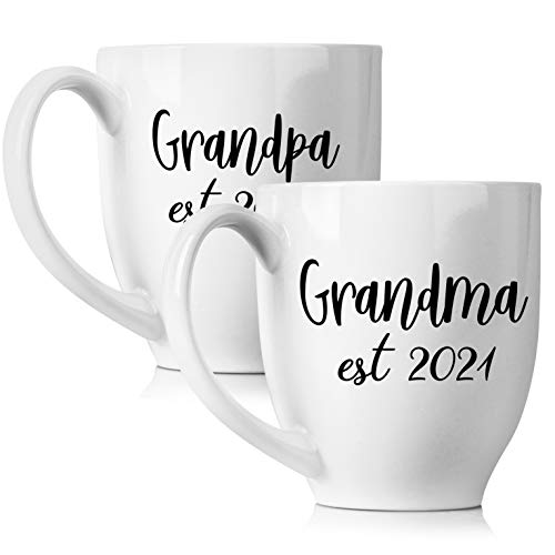 New Grandparents Pregnancy Announcement Coffee Mug Set 15oz - Unique Expecting Gift Idea For Grandma and Grandpa To Be - Perfect Reveal Present Baby Showers - Grandmother and Grandfather Gifts…