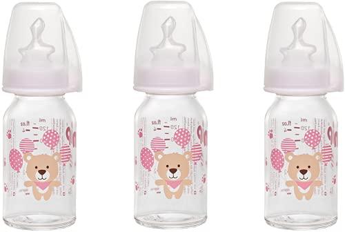 NIP Glas Flasche Mix // 3er Set // Glas-Babyflasche // Standardglasflasche 125 ml // Sauger Größe S (Silikon/Tee - Muttermilch/ab 0 Monate)
