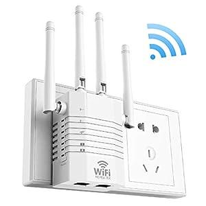 Getue 1200Mbps Repetidor WiFi Amplificador Señal WiFi Repetidor Amplificador WiFi 2.4 GHz y 5GHz Repetidor Señal WiFi,Admite Modo Ap/Repetidor/Router, Compatible con Enrutador Inalámbrico,Blanco