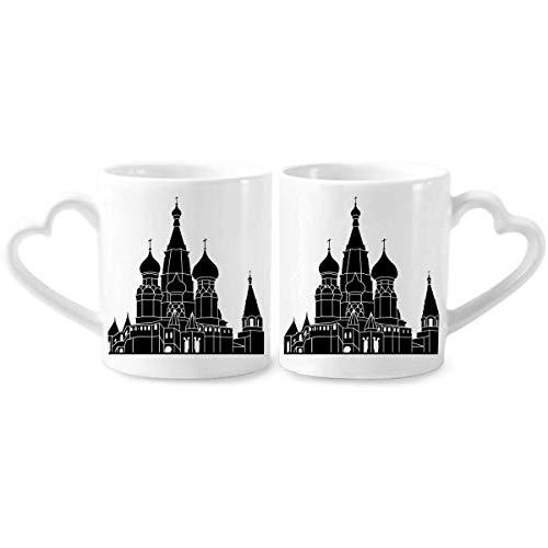 DIYthinker Russland Sankt Petersburg Silhouette Paar Tassen Keramik-Liebhaber Becher Herz Handgriff 12 Unzen Geschenk Mehrfarbig