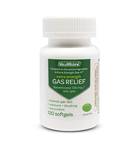 ValuMeds Extra Strength Gas Relief to Relieve Pressure, Bloating, and Painful Discomfort, 120 Softgels, Improve Regularity and Balance, Comparable to Gas-X