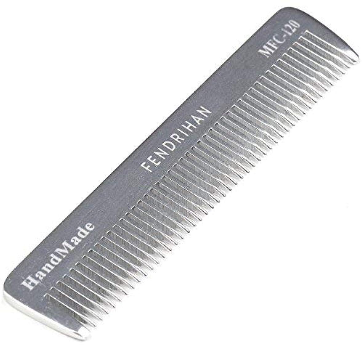 ミリメートル灰バンカーFendrihan Sturdy Metal Fine Tooth Barber Pocket Grooming Comb (4.6 Inches) [並行輸入品]