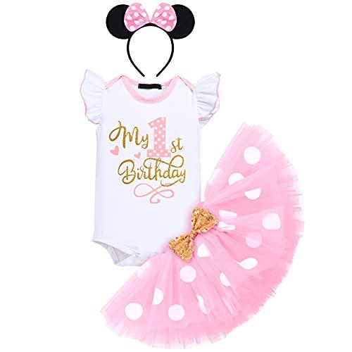 FYMNSI Baby Mädchen Mein 1. Geburtstag Outfit Minnie Maus Kostüm Gepunktet Tütü Rock Baumwolle Kurzarm Body Strampler mit Ohr Stirnband 3tlg Bekleidungsset Fotoshooting Rosa 1 Jahr