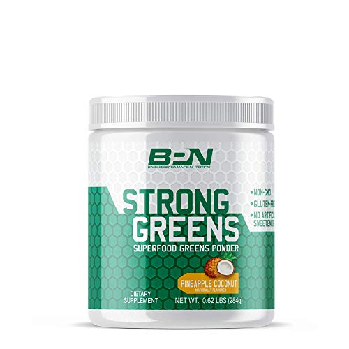 Bare Performance Nutrition, Strong Greens Superfood Powder, Antioxidants, Non-GMO, Gluten Free and No Artificial Sweeteners, Wheat Grass, Coconut Water, Turmeric and Monk Fruit (Pineapple Coconut)