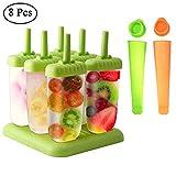 Queta Eisformen, 6 Stück EIS am Stiel und 2 Stück Eislutscher Popsicle Formen Set für Kinder und...