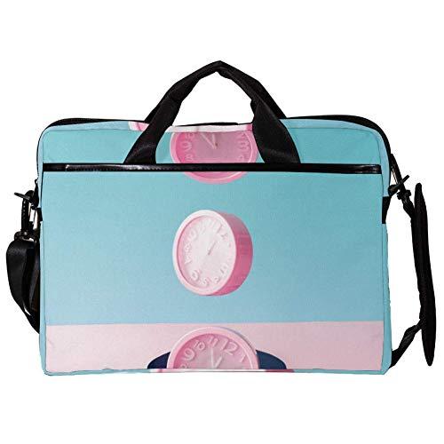 TIZORAX Laptop Messenger Schultertaschen DREI rosa Wecker Computer Sleeve Notebook-Tragetasche 15-15,4 Zoll Handtasche