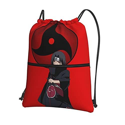 Anime NARUTO Sharingan Uchiha Itachi Mochila con cordón con cremallera bolsillo deportivo bolsa de viaje repelente al agua mochila ligera bolsa de deporte unisex