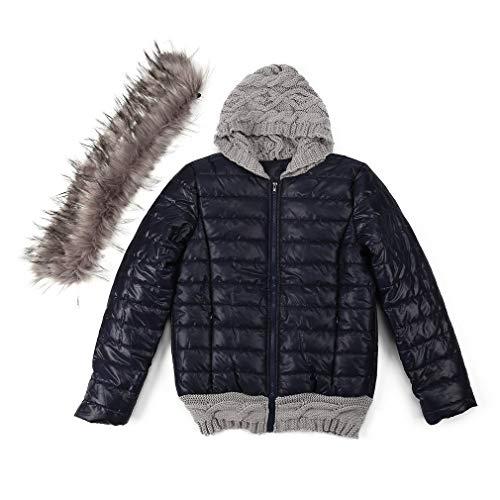 Wintermode Jas Dames Lange hoodies Gebreide wollen muts Dikke gewatteerde jas Bontkraag Bovenkleding Match korte jas Donkerblauw