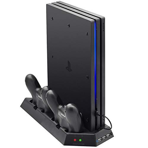FASTSNAIL Support Vertical pour PS4 Pro Avec Ventilateur de Refroidissement, Station de Charge du Contrôleur pour PS 4 Avec Indicateur de Charge LED