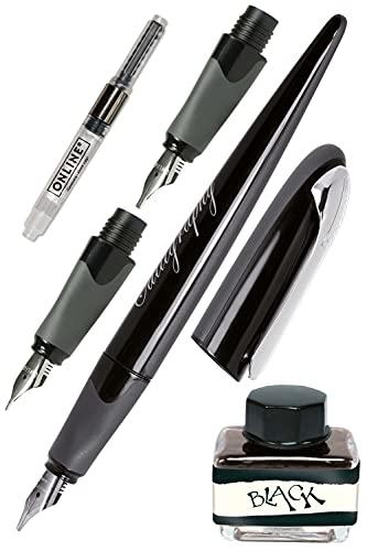ONLINE Stylo de calligraphie Air Noir, 3 plumes de calligraphie différentes, pour cartouches d'encre standard ou convertisseur, avec encrier encre noire, en coffret cadeau