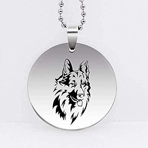 Yaoliangliang Collar con Colgante de Lobo, Collar para Hombres, joyería de Acero Inoxidable grabada única, Collar Largo