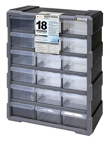 Quantum Storage PDC-18BK Clear Plastic Parts Storage Hardware and Craft Drawer Cabinet, 18 Drawers