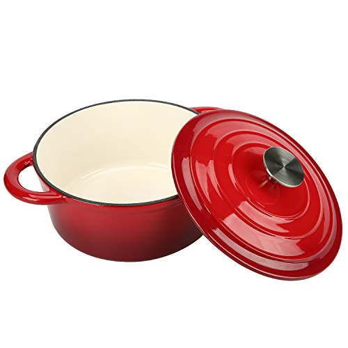 COOKWIN 5 Quart Cast Iron Dutch Oven,Bread Baking Pot with Self Basting Lid, Porcelain Enameled Surface Cookware Pot, Red