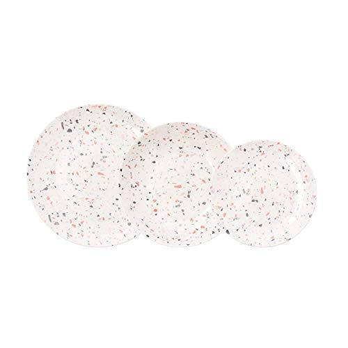 Bidasoa Trivial Vajilla de Porcelana Completa Moderna 18 Piezas Llanos hondos |6 Platos Postre, Blanco, Estandar