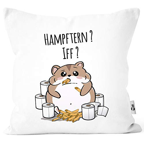 MoonWorks® Bezug Hamster Virus 2020 Hamsterkäufe Klopapier Nudeln Parodie Satire Deko-Kissen Baumwolle weiß Unisize