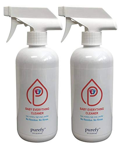 PUREFY Baby Everything Cleaner. Hypoallergenic. No Residue. Unscented. No Rinse. Baby Safe cleaner for Toys, Pacifier, High Chair, and Nursery. (16oz, 2pk)