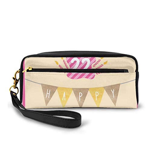 Pencil Case Pen Bag Pouch Stationary,Happy Birthday to You with Candies Cake Candles Cute Print,Small Makeup Bag Coin Purse