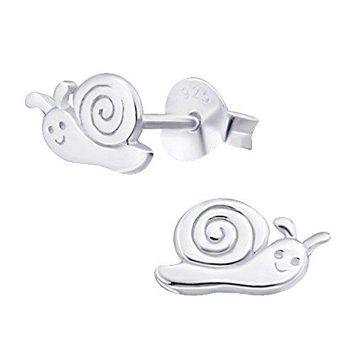 Laimons Mädchen Kids Kinder-Ohrstecker Ohrringe Kinderschmuck Schnecke Weinbergschnecke Tier glanz aus Sterling Silber 925