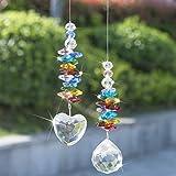 H&D Sonnenfänger Kristall Herz-Prisma Glas Chakra-Perlen Sun Catcher Fensterdekoration, 2 Stück