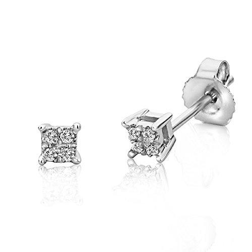 Miore Ohrstecker für Damen 9 Karat - Filigrane, eckige Ohrringe aus 375 Weißgold mit 0,03 ct. Diamanten - Ohrschmuck klein 3mm x 3mm