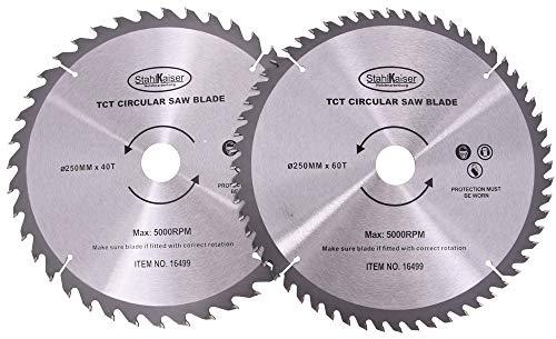 2x Kreissägeblatt 250x30mm Holz HM Sägeblatt TCT 40Z 60Z Reduzierringe 20-16 mm