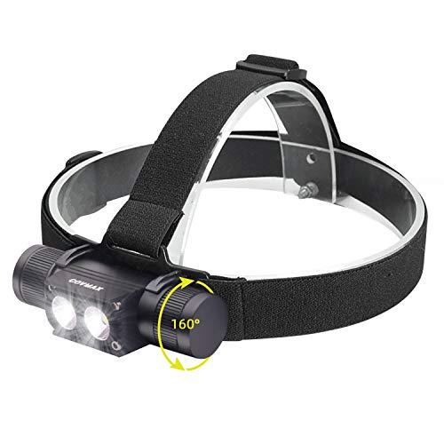 Rechargeable LED Headlamp, Super Bright 1200 Lumen, 2000mAh Battery, Adjustable Beam, IP68 Waterproof EDC Flashlight with Adjustable Headband, 5 Modes for Hiking, Camping, Hard Hat Light