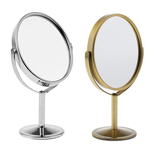 perfeclan 2pcs Miroir Maquillage de Table Grossissant Double Face Miroir Cosmétique sur Pied Pivotant Miroir pour Salle de Bain
