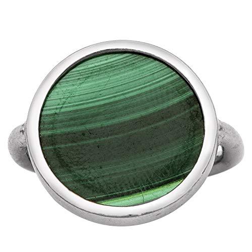Shine Jewel Hecho a Mano en Plata de Ley 925 con Cabina de 18 mm Anillo de diseñador de Piedras Preciosas de malaquita Verde Natural