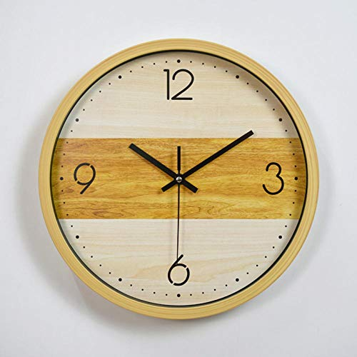 HPPSLT Reloj Creativo Simple Grano de Madera decoración de la Sala de Estar Reloj de Pared Reloj de decoración del hogar-3