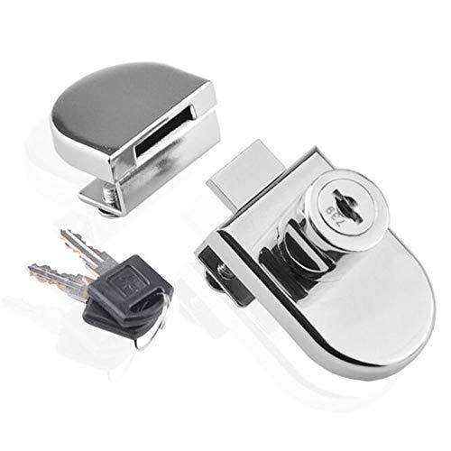 Jackbaggio - Cerradura para Puerta de Armario o Armario de Cristal de aleación de Zinc, con Llave para Cristal de 5 a 8 mm de Grosor
