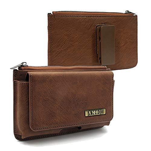 VMOJO Retro Leder Klettverschluss Reißverschluss Brieftasche | 360 Drehbar Outdoor Gürtelschnalle Tasche | Kartensteckplatz Für 5,2