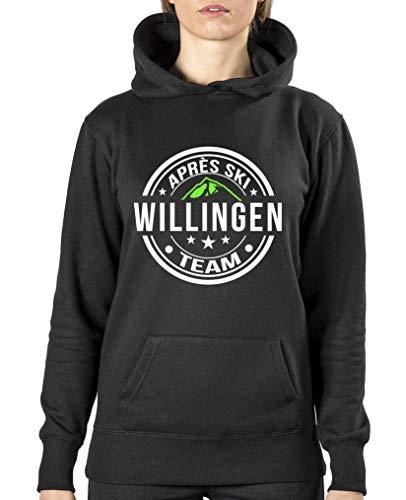 Comedy Shirts – Aprés Ski Team – Willingen V2 – Sweat à capuche pour femme, poche kangourou, manches longues, pull imprimé - Noir - XX-Large