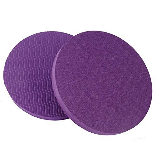 2 Piezas / Juego De Rodilleras Redondas Pequeñas Portátiles Estera De Yoga Estera De Fitness Antideslizante púrpura
