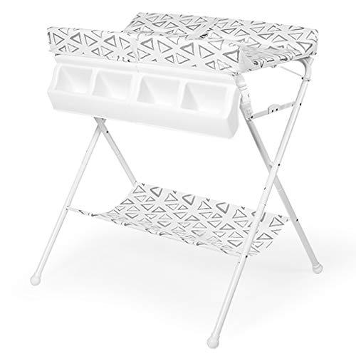 Table à Langer pour BéBé Pliable 2 en 1 Baignoire pour BéBé Table à Langer Commode Table Rangement Cross Leg Style pour Voyage à La Maison