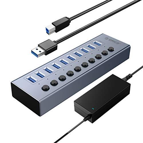 ORICO Industrial USB 3.0 Data Hub Aluminium 10 Ports 48W USB Hub BC1.2-Protokoll Mit Netzteil Einzelne EIN/Aus-Schalter und 12V/4A Netzteil für PC, iMac, Mobile Festplatte, Flash Laufwerk