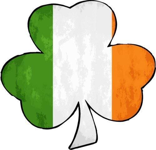 ION Graphics Irish Flag Decal - Irish Flag Shamrock Vinyl Sticker - Irish Shamrock Bumper Sticker - Shamrock Decal - Perfect Irish Heritage Gift - Made in The USA Size: 4 x 3.8 inch inch