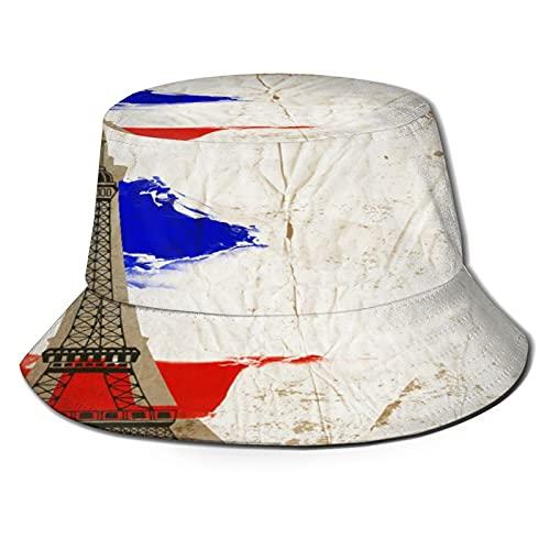 Sombrero de Pescador para ,Hermosa Postal de Pa, Sombreros de Sol Plegables con protección UV, Sombreros de Pesca de Viaje en la Playa, para Senderismo, jardín, Safari, Acampada al Aire Libre.