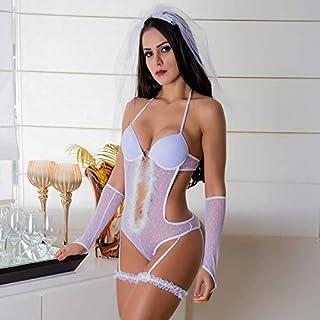 Body Branco Noiva Lua de Mel com Bojo e Véu - GV196