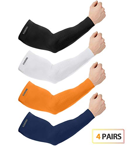 KMMIN Arm Sleeves UV Protection for Driving Cycling Golf Basketball Warmer Cooling UPF 50 Sunblock Protective Gloves for Men Women Adults Covering Tattoos, Black/White/Orange/Navy