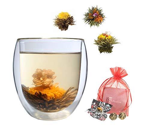 Teeset: 1x 310ML JUMBO Thermoglas + 3x Grüntee-Teeblumen, doppelwandiges Glas + 3x grüner Erblühtee, Probier- und Geschenkset - by Feelino