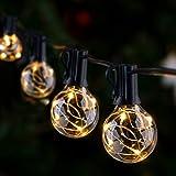 Guirnalda Luces Exterior e Interior GlobaLink, G40 LED Cadena de Luces 11,7m 30+3 Bombillas IP65 Impermeable 0.1W Energía Ahorrada Decoración para Fiesta Navidad Boda en Jardín Patio-Blanco Cálido