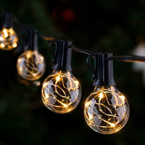 Lichterkette Außen IP65 Lichterkette Glühbirnen G40 GlobaLink 11,7M Garten Lichterkette mit 30 Birnen Außen-/Innenbeleuchtung mit stecker Deko für Zimmer, Bar, Garten, Balkon(3 Ersatzbirnen)-Warmweiß