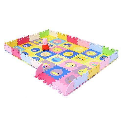 HLMIN Puzzle Tapis Mousse Caillebotis Living Room Puzzle Splice Clôture Domestique Antidérapante Plus Épaisse for l'environnement, 24 Pièces (Color : A, Size : 24PCS)